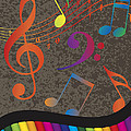 Piano Wavy Border With Colorful Keys And Music Note by Jit Lim