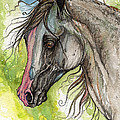 Piber Polish Arabian Horse Watercolor Painting 3 by Angel Ciesniarska