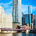Picture Of Chicago River Skyline At Franklin Bridge by Paul Velgos