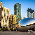 Picture Of Cloud Gate Bean And Chicago Skyline by Paul Velgos