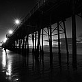 Pier Lights - Black And White by Peter Tellone