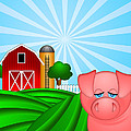 Pig On Green Pasture With Red Barn With Grain Silo  by JPLDesigns