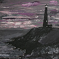 Pigeon Lighthouse Impasto Sunset Monochromatic by Ian Donley