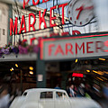 Pike Place Publice Market Neon Sign And Limo by Scott Campbell