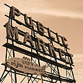 Pike's Place Market Sepia by Nick Gustafson
