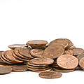 Pile Of American Pennies On White Background by Keith Webber Jr