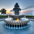 Pineapple Fountain At Waterfront Park by Walt  Baker