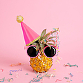 Pineapple Wearing A Party Hat And by Juj Winn