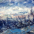 Pines In Winter Blues Abstract by Desmond Raymond