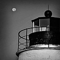 Piney Point Lighthouse And Moon In Black And White by Bill Cannon