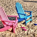 Pink And Blue Beach Chairs With Matching Flip Flops by Michael Thomas