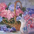 Pink And Blue Hydrangeas by Karin  Leonard
