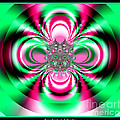 Pink And Green Rotating Flower Fractal 74  by Rose Santuci-Sofranko