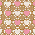 Pink And White Hearts by Linda Woods