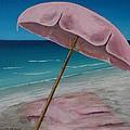 Pink Beach Umbrella by Wayne Cantrell
