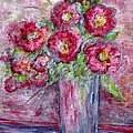 Pink Beauties In A Blue Crystal Vase by Eloise Schneider Mote