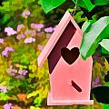 Pink Heart Birdhouse by Ginger Wakem