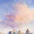 Pink Cloud And 59th St Bridge Watercolor Painting Of Nyc by Beverly Brown