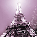 Pink Eiffel Tower Paris by Evie Carrier