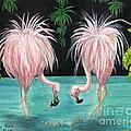 Pink Flamingo Booty Tropical Birds Art Cathy Peek by Cathy Peek