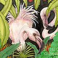 Pink Flamingos Jungle Cathy Peek Tropical Bird Art by Cathy Peek