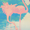 abstract Pink Flamingos retro pop art nouveau tropical bird 80s 1980s florida painting print by Walt Curlee