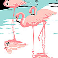 Pink Flamingos Tropical 1980s Abstract Pop Art Nouveau Graphic Art Retro Stylized Florida Print by Walt Curlee