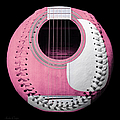 Pink Guitar Baseball White Laces Square by Andee Design
