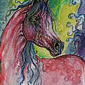 Pink Horse With Blue Mane by Angel Ciesniarska
