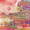 Pink Hot Air Balloons Abstract Nature Pastels - Dreamy Pastel Balloons by Kathy Fornal