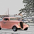Pink Hot Rod Cruising Woodward Avenue Dream Cruise Selective Coloring by Thomas Woolworth