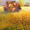 Pink House Yellow Field by Cathy Locke