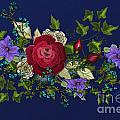 Pink Metallic Rose On Blue by Nancy Long
