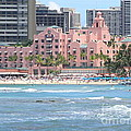 Pink Palace On Waikiki Beach by Mary Deal