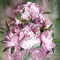 Pink Peonies Bouquet - Square by Carol Cavalaris