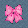 Pink Ribbon Chevron Denim Background by Ym Chin