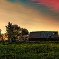 Pink Sunrise. Old Barn An Cherry Blossom by Jenny Rainbow