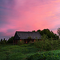 Pink Sunrise. Old Barn by Jenny Rainbow