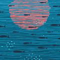 Pink Sunset And Fish Underwater Cartoon by Popmarleo