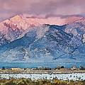 Pink Sunset On Taos Mountain by Charles Muhle