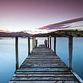 Pink Sunset Over Jetty And Blue Lake by Matteo Colombo