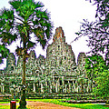 Pink Tower In The Bayon In Angkor Thom In Angkor Wat Archeological Park Near Siem Reap-cambodia by Ruth Hager