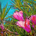 Pink Tropical Flower With Honeybee - Square by Lyn Voytershark