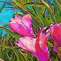 Pink Tropical Flower With Honeybee - Vertical by Lyn Voytershark