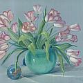 Pink Tulips In Green Vase by Dan Redmon