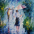 Pink Umbrella - Palette Knife Oil Painting On Canvas By Leonid Afremov by Leonid Afremov