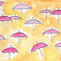 Pink Umbrellas by Linda Woods