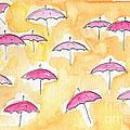 Pink Umbrellas by Linda Woods
