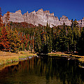 Pinnacle Buttes On Brooks Lake Creek Rocky Mountains by Ed  Riche