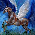 Pinto Pegasus With Blue Mane by Angel Ciesniarska